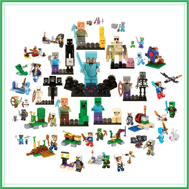 Legoing Minecraft Figures Blocks My World Zombie Steve Wither Toy Model Action Figure Toys For Children Minecraft Legoings Block