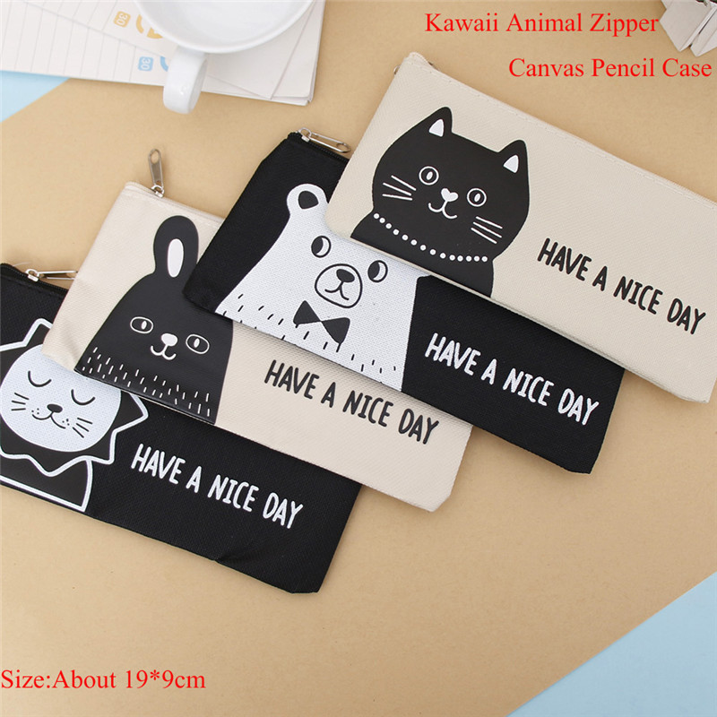 Hot Sale Pencil Bag Kawaii animal Zipper Cosmetic Bags School Office Supplies Canvas Pencil Case Stationery Gift For Kids