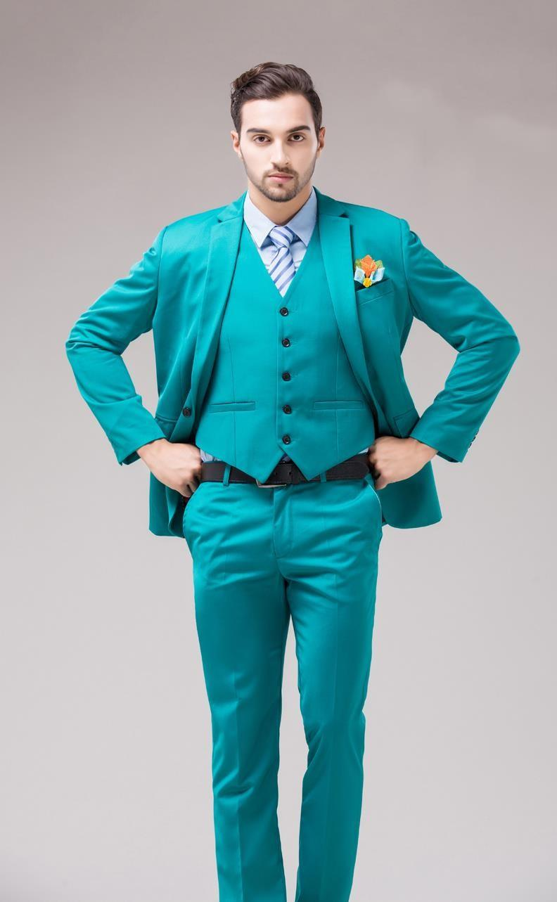 2016 Green Blue Groom Tuxedos Notch Lapel Men\'s Suits Turquoise ...