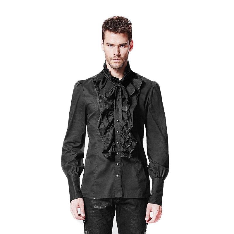 the best attitude 2d494 ded12 US $48.6 10% OFF|Gothic Punk Männer Hemd Mit Langen Ärmeln Gothic Rüschen  Mann Hemd Plus Größe 4XL Männlichen Casual Blusen Mit Einreiher y 597-in ...