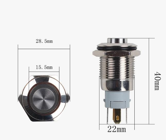 free shipping 22 mm waterproof self locking reset metal push button 12V switch high head ring led self reset 4p4t 5 position 4 direction joystick monolever switch