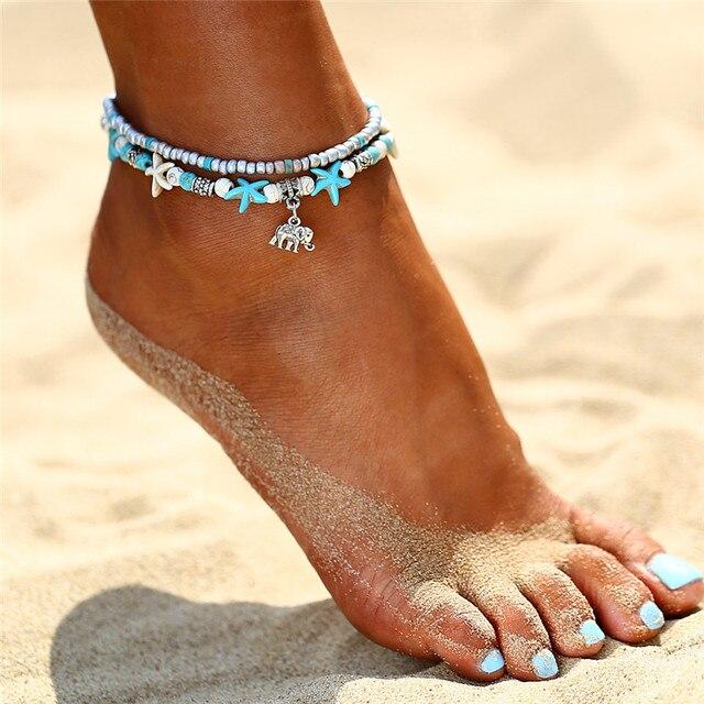 IF YOU Bohimia Sea Turtles Anklet Vintage For Women Summer Beach BOHO Bracelet on Leg Chain 5