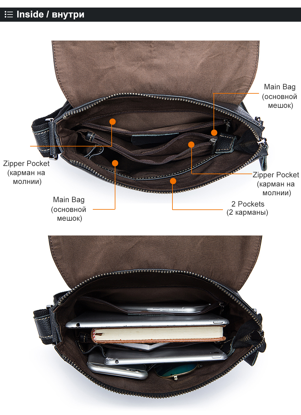 2 geunine leather bags for men