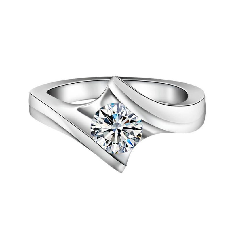 1 carat 925 sterling silver female simple Fashion ring wedding customized diamond jewelry (XJ)