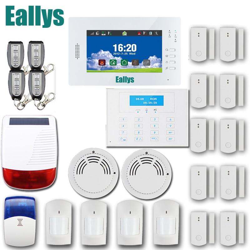 Venda quente 7 de Polegada Grande Tela de Toque 868 MHz Sem Fio GSM Sistema de Alarme da Segurança Home Alarma Casa, Android/IOS APP Controle