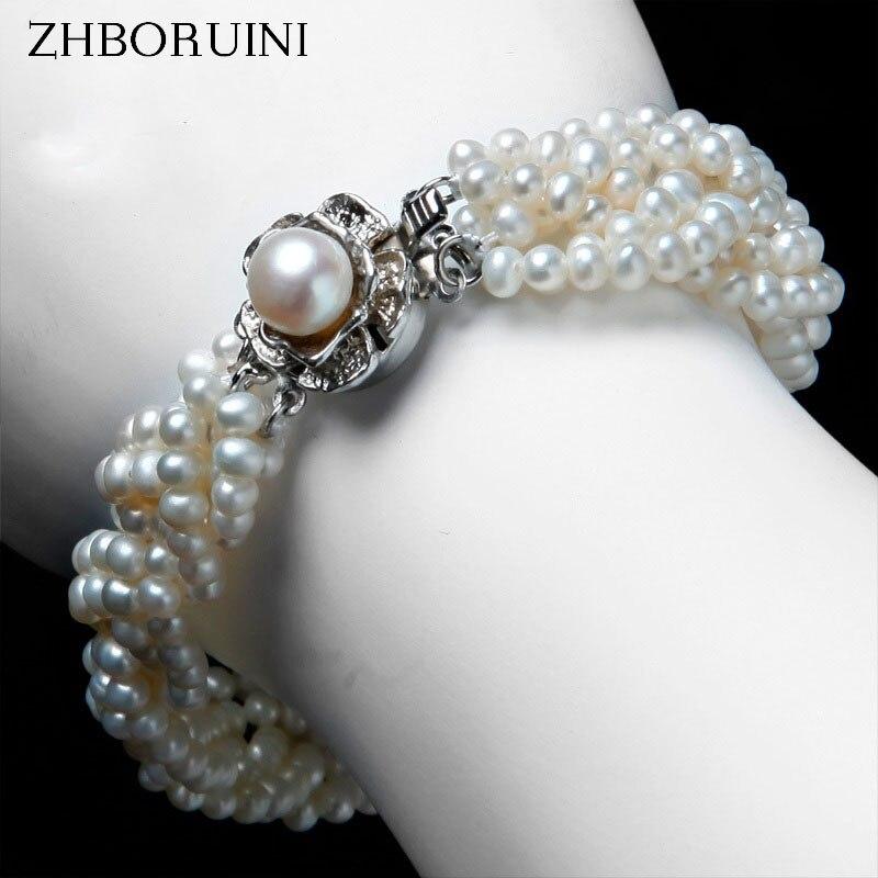 ZHBORUINI Bracelet à breloques bijoux en perles 925 en argent Sterling Bracelet à remontage bracelets Bracelet en perles d'eau douce naturelles pour femmes