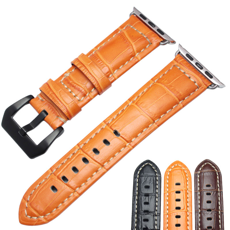 HENGRC Watchbands Thick Genuine Leather For Iwatch Apple Watch Band Strap 3 Colors  Link Bracelet With Adapter 38mm 42mm 38 42mm leather strap cuff bracelet watch bands for apple watch for iwatch 5 colors new hot selling