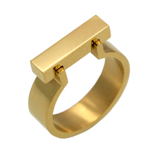 Classics Stainless Steel Jewelry Horseshoe Flat Shackle Brand Ring Punk Finger Love Ring Gold Color Square