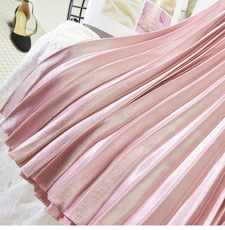 Stretch High Waist Long Pleated Skirt 29