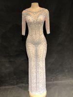 Для женщин блестящие стразы стрейч сексуальное длинное платье для ночного клуба DJ певица свечерние ценический наряд праздничное