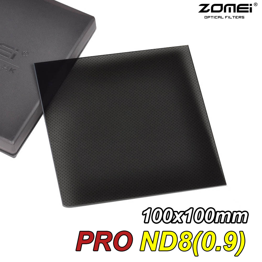 New Zomei Pro Optical Glass ND8 ND0.9(8x) 100x100mm 3 Stop Neutral Density Square filter for Canon Nikon Sony Lens 100mm*100mm zomei 100mm nd64 square filter hd optical glass 100x100mm 6 stop neutral density nd filter for cokin z lee hitech 100mm holder