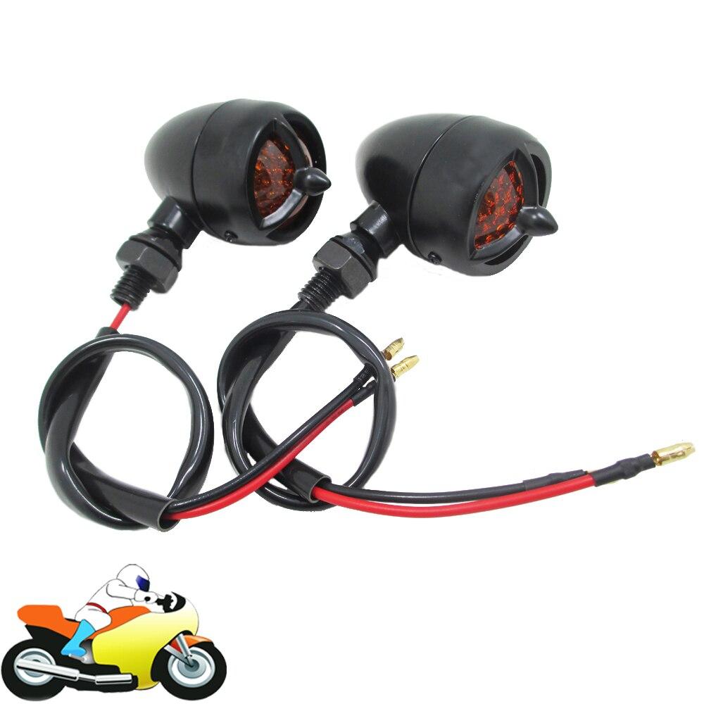 2x Motorcycle Bike Globe Bulb Turn Signal Indicators Light Lamp Universal Black