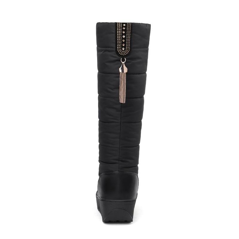 Women Mid-Calf Boots Winter Warm Platform High Snowflake Plush Round Toe Plus Size Snow Boots