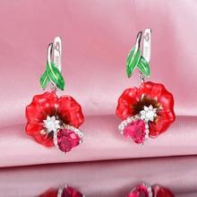 ФОТО RainMarch Silver Enamel Rose Flower Engagement Earrings  Women 925 Sterling Silver Earring Handmade Enamel Party Jewelry