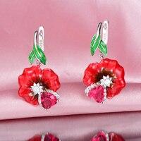 RainMarch Silver Enamel Rose Flower Engagement Earrings For Women 925 Sterling Silver Earring Handmade Enamel Party Jewelry