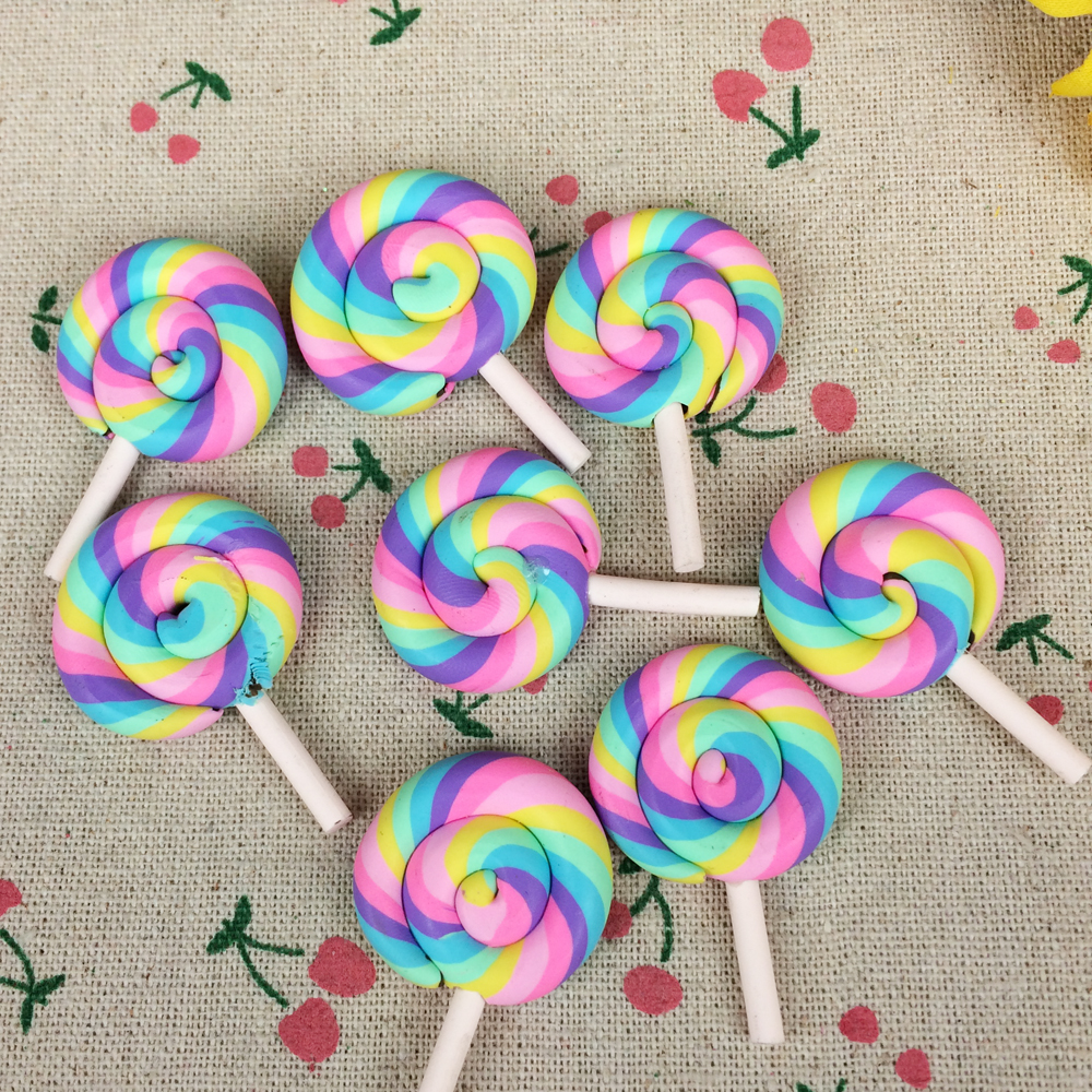 10Pieces Flat Back Clay Cabochon Kawaii Rainbow Color Lollipop DIY Flatback Scrapbooking Embellishment Decoration Craft:28*43mm