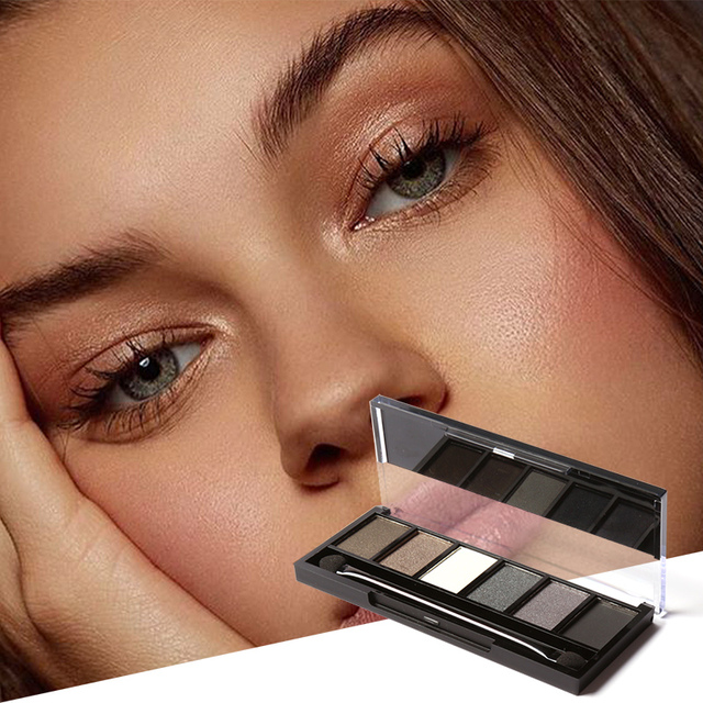 FOCALLURE 6 Colors Eyeshadow Palette Glamorous Smokey Color Eye Shadow Shimmer Glitter Smooth Creamy Powder Makeup Eye Shadow 1
