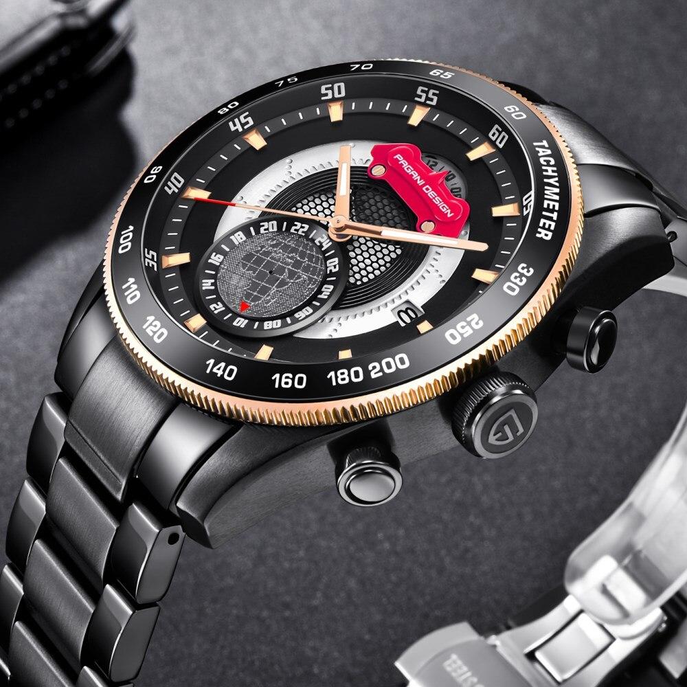 Marque de luxe PAGANI CONCEPTION 2018 Chronographe Sport Montres Hommes Reloj Hombre Plein Acier Quartz Montre Nouveau Horloges Relogio Masculino