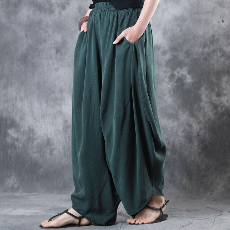 2019 ZANZEA Women Autumn High Elastic Waist Baggy Pockets Solid Cotton Linen Harem Long   Wide     Leg     Pants   Loose Trousers Plus Size