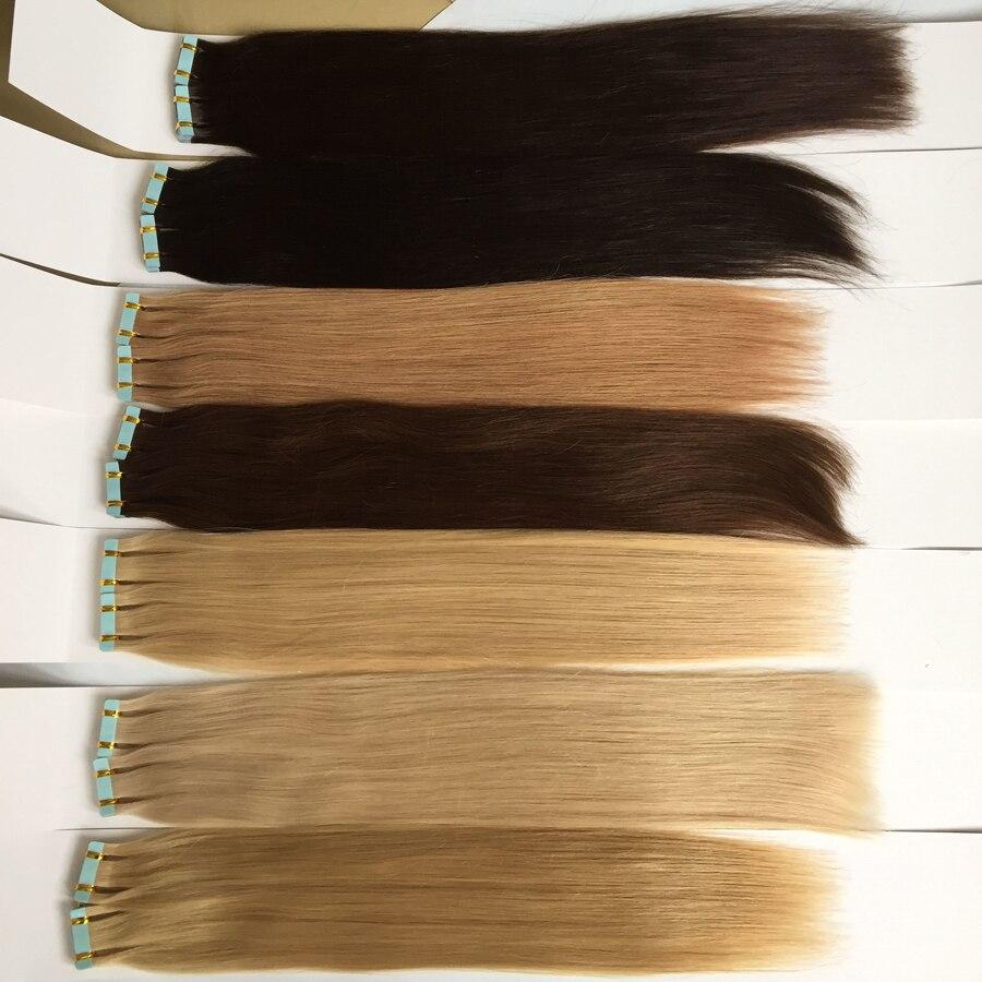 Haut Schuss Natürliche Farbe #1 #2 #4 #27 #613 Gerade Pu Haar Schuss Band In Menschliches Haar Extensions 12-24 Zoll Peruanische Haarwebart