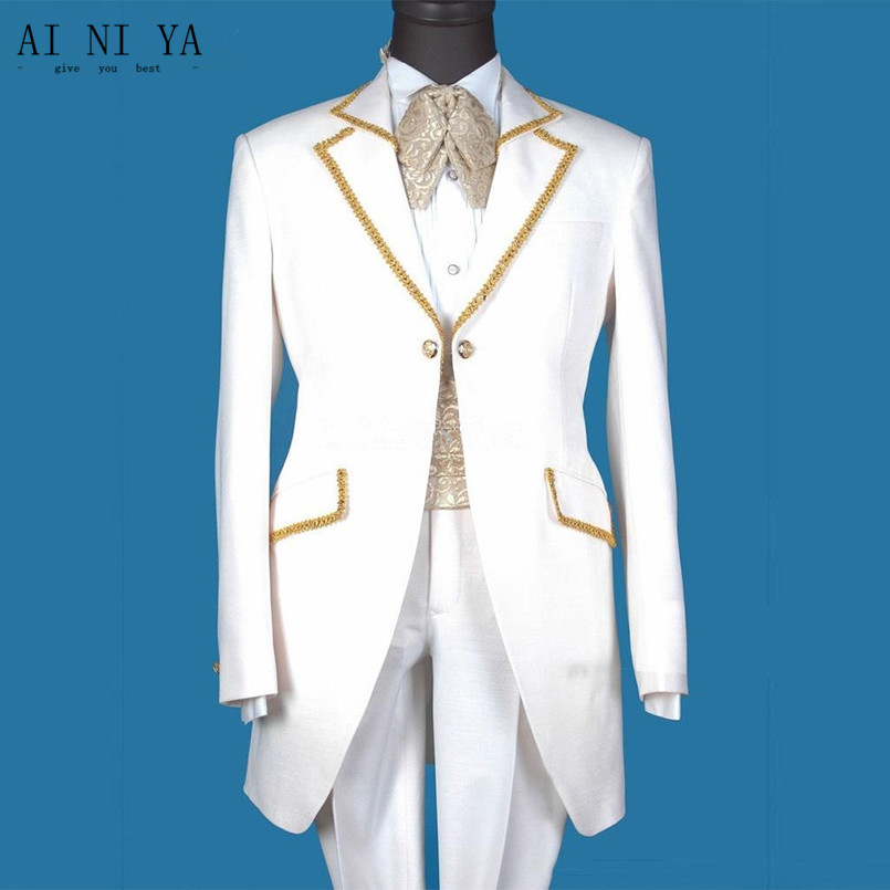 Fashion men's white suit men's professional suit suit the best suit custom (jacket + pants + seal + tie)