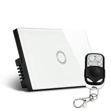 Лучшее Качество 1 Gang Сенсорный Свет Беспроводной Настенный Выключатель Белый Стеклянная Панель с Пультом Дистанционного Управления 120 Тип 90 В ~ 180 В АРТИКУЛ: 5592