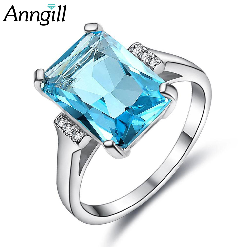 Luxury Exquisite Silver Color Austria Crystal Rings for Women Wedding Engagement Acessories Cubic Zirconia Jewelry Big Promotion