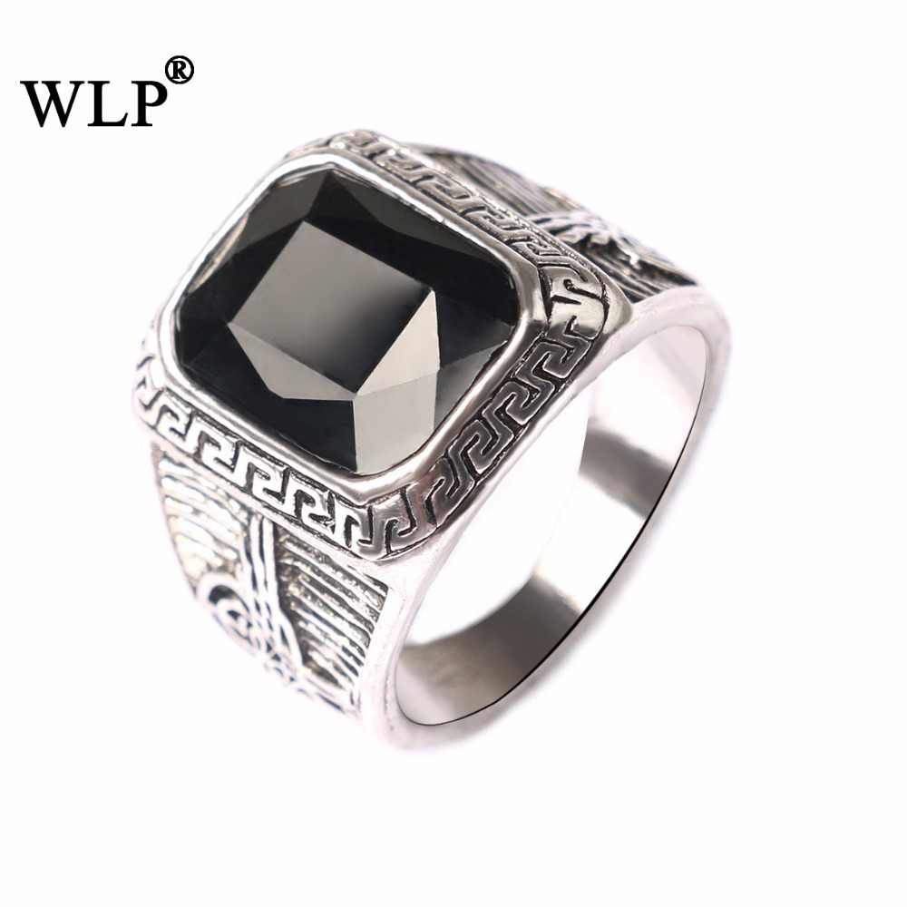 WLP 2018 New Arrival Zinc Alloy Square Shape Vintage Antique Mens Finger Rings Cameo Image Decoration Turkish Statement Rings