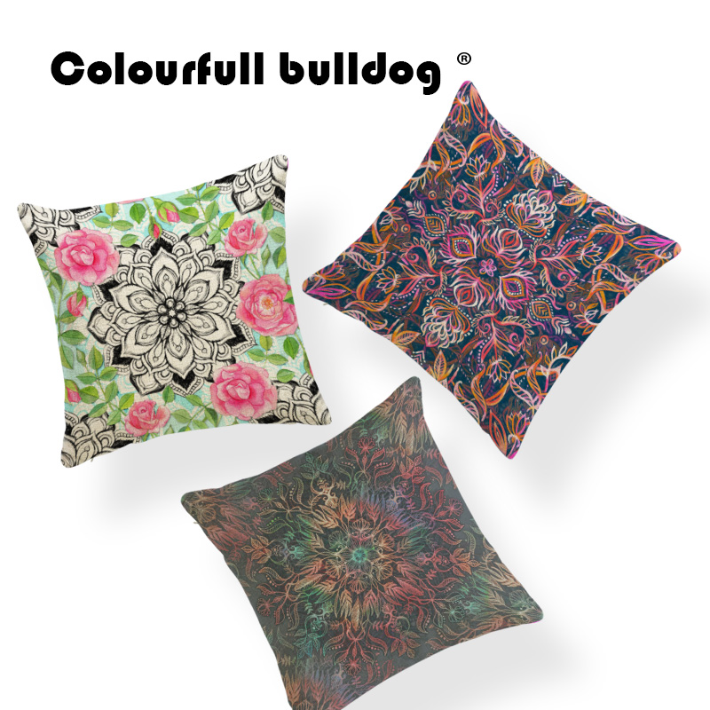 Plant Lotus Leaves Cushion Covers Watercolor Cover Pillows Green Western Gamer Chair Paisley Throw Pillow Case Peony 18X18 Linen