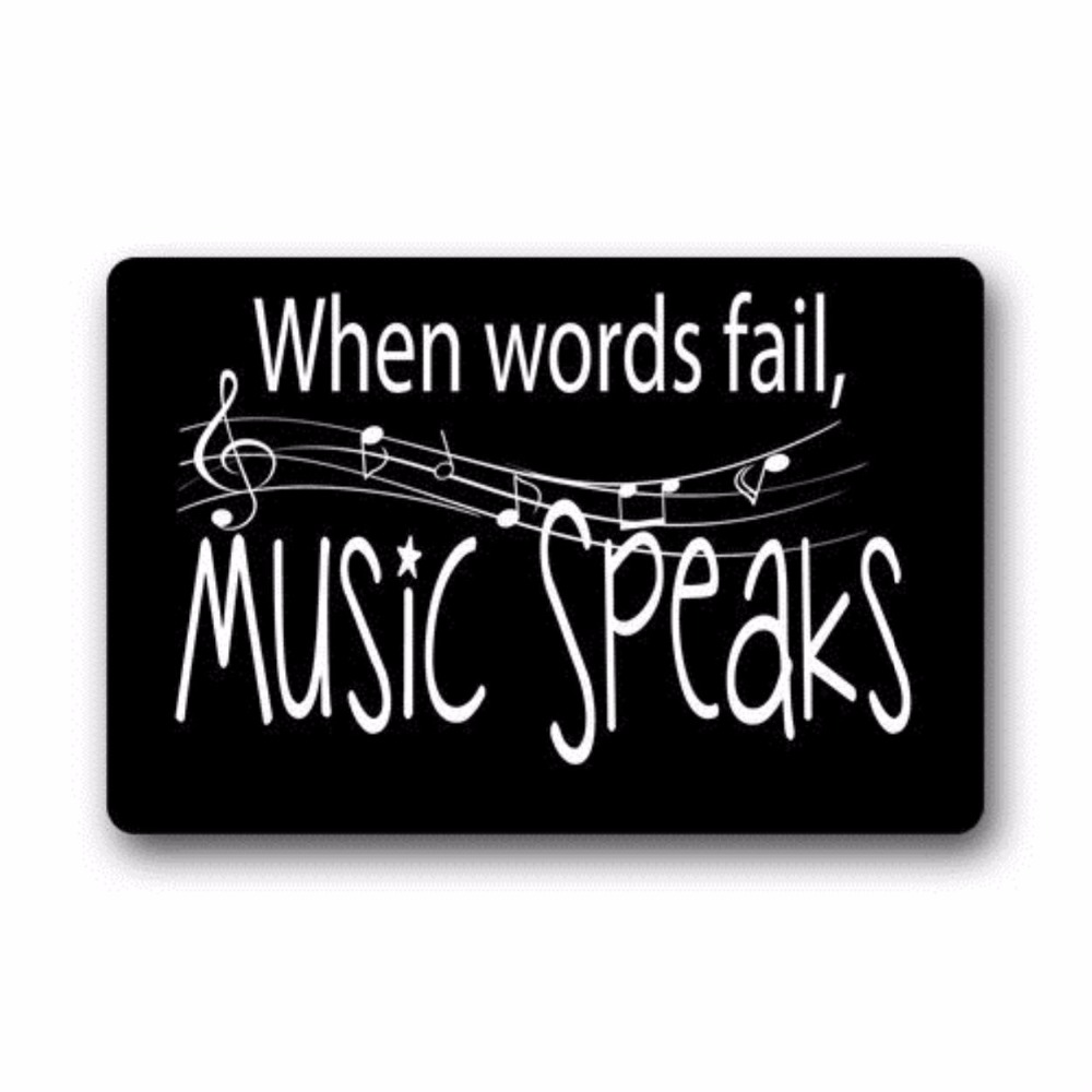 Fashion Music Notes When Words Fail Music Speaks Machine Washable Doormat Gate Pad Rug 23 6 quot L x 15 7 quot W in Mat from Home amp Garden