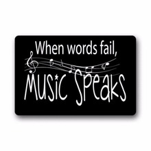 Fashion Music Notes When Words Fail Speaks Machine Washable Doormat Gate Pad Rug 23.6(L) x 15.7(W)