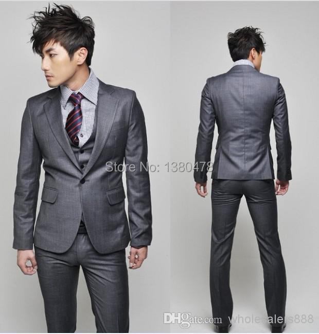 2016- New Side Vent Slim Fit Groom Tuxedos Charcoal Grey Best man Notch Lapel Groomsman Men Wedding Suits Bridegroom(Jacket+Pan