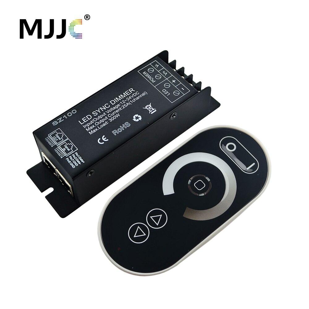 LED Dimmer 12 V 24 V 300 W 1 Canali RJ45 RF Wireless LED sincrono con Remote Touch per Singolo Colore LED Light Strip