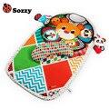 Sozzy 0m+ 90cm Baby Play Sleep Mat Activity Crawling Mat Pad Padded Bolster Large Mirror Teether Animals Lion Panda Elephant