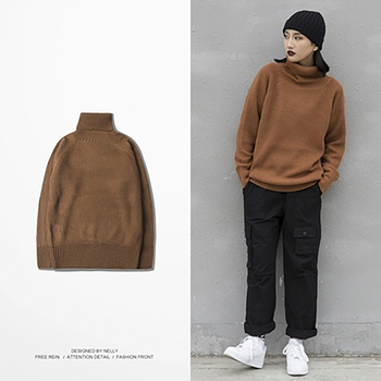 Winter Warm Slim Fit Pullover Sweater Wool Casual Solid Turtleneck Knitted Sweaters Korean Style Chirstmas Men Sweather Clothes