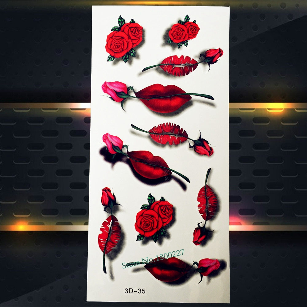 1PC Sexy Women Makeup Party Temporary Tattoo Girls Body Art Arm Face Tatoo P3D-35 Red Lips Roses Designs 3D Tattoo Stickers Neck