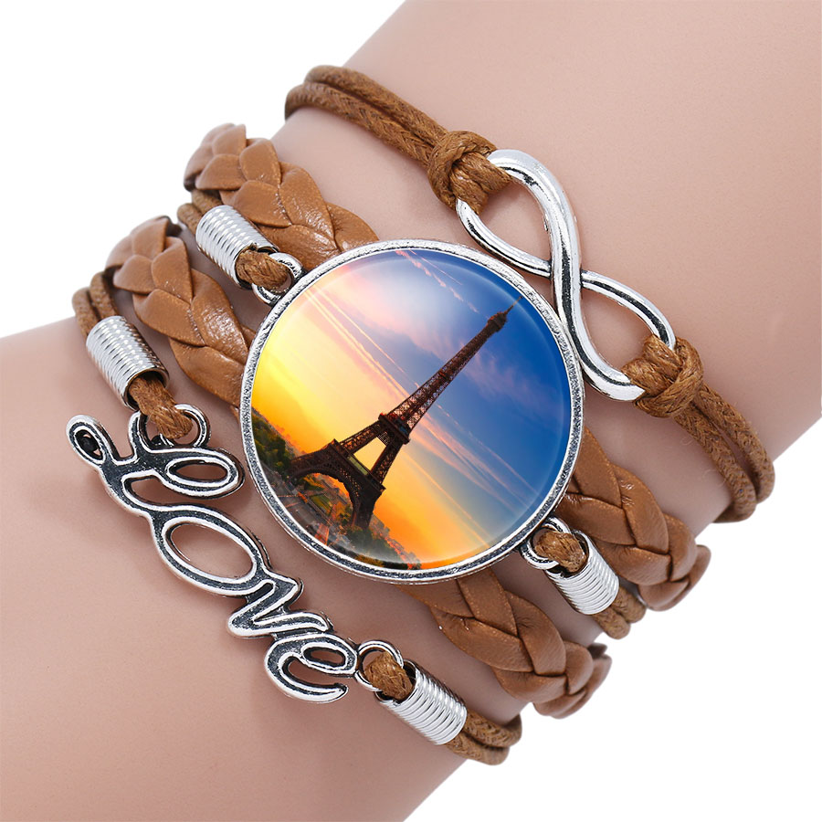 Ningxiang Coffee Color Paris Eiffel Tower With Flower Glass Cabochon Charm  Bracelet Hot Sale Handmade Infinity