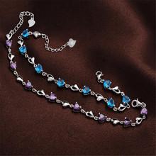 YKNRBPH S925 Sterling Silver Bracelet Heart-Shaped Diamond Creative zircon Women's Wedding Crystal Silver Jewelry Bracelets