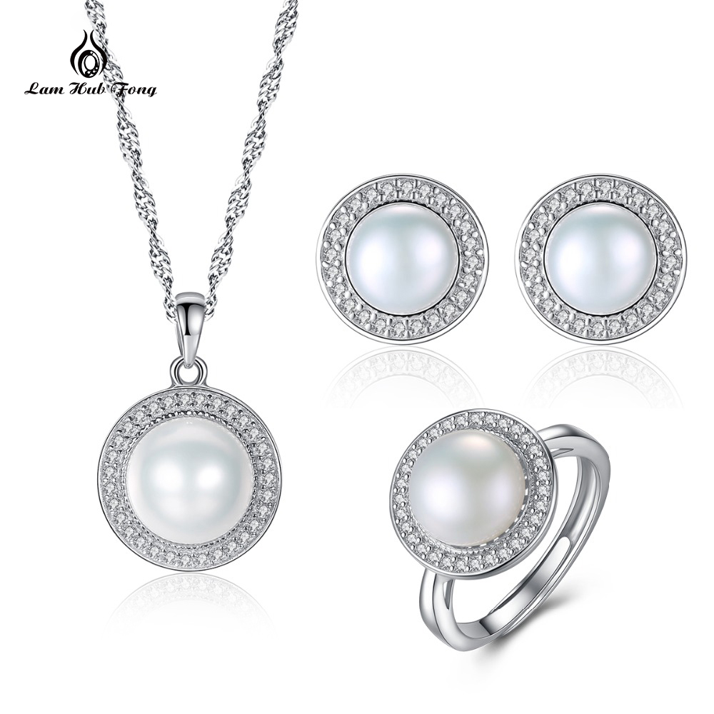 2018 New 925 Sterling Silver Jewelry Sets Pendant Necklace Earring Ring Big Pearl Pendant Earrings For