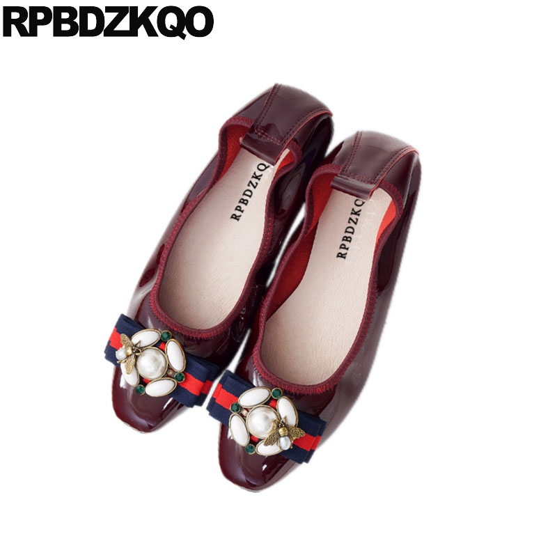 10 Large Size Red Wine Pearl Big Luxury Ballerina Patent Leather Shoes Women Foldable Ballet Flats 43 Navy Blue Diamond Bee 11 цена 2017