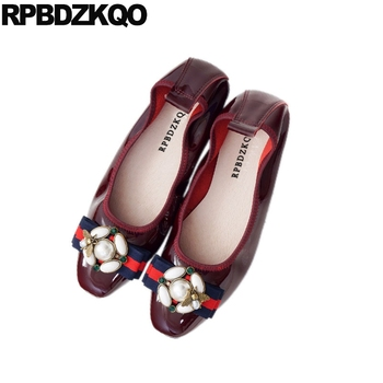10 Large Size Red Wine Pearl Big Luxury Ballerina Patent Leather Shoes Women Foldable Ballet Flats 43 Navy Blue Diamond Bee 11