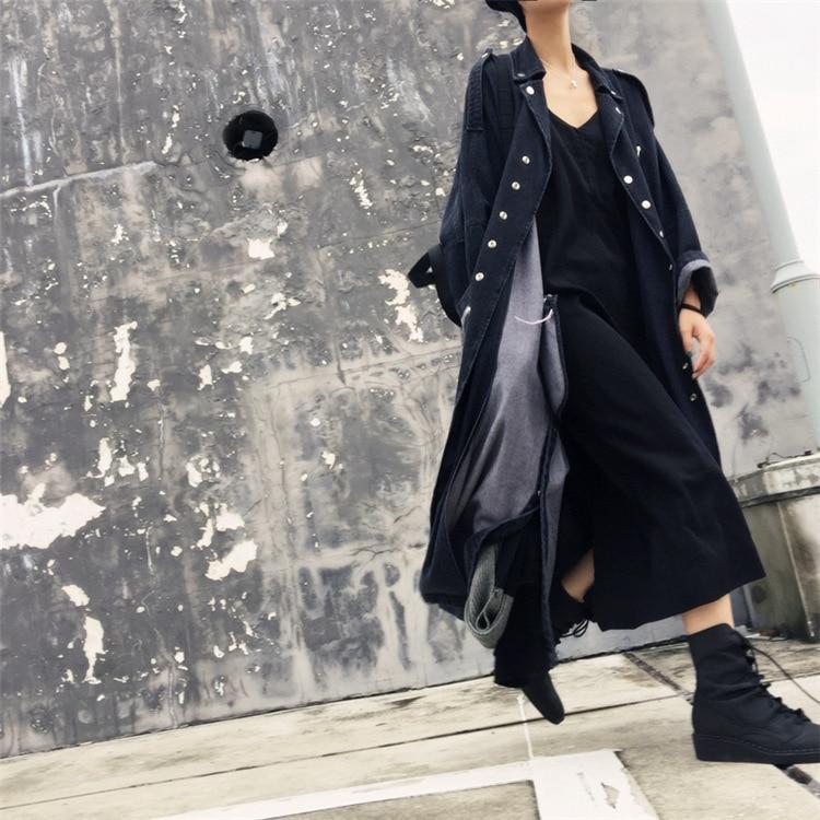 Éclair Hiphop Streetwear Oversize Patchwork Jean Ceinture Bouton Noir Tranchée Lâche De Longue Manteau vent Fermeture Outwear Denim Cravate Plus Vintage Coupe qYrd1Wwxd