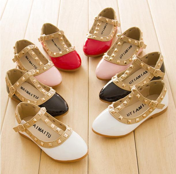 2017 New girls sandals kids boots children rivets pu shoes 4colors casual  sandals for 2-10 years girls free shipping 58def623598f