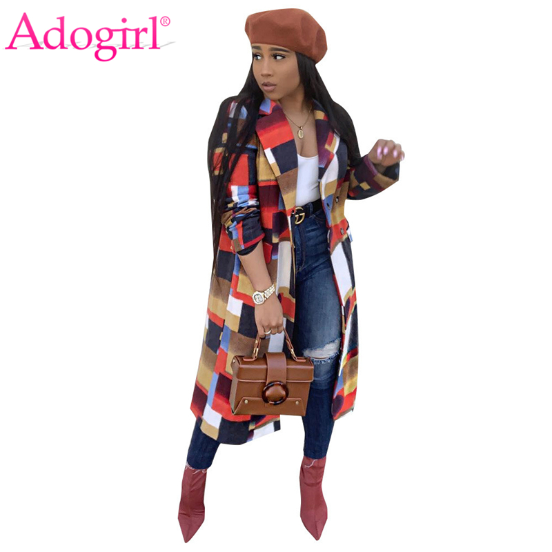 Adogirl Colorful Plaid Woolen Coat Turn Down Collar Double Breasted Fashion Casual Wool Jacket Warm Winter