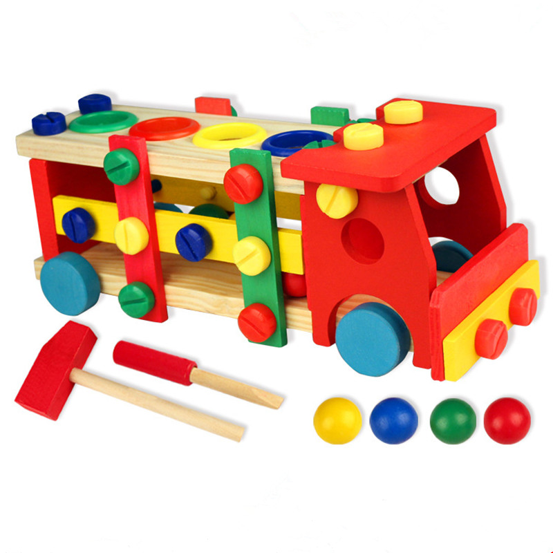 New multifunctional Educational Wooden Toy Disassembly Screw Nut Vehicle Car Knock Ball Developmental Baby Puzzle Toys Gift