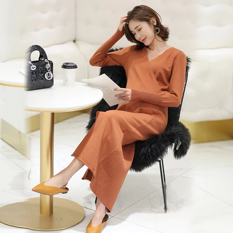 High Quality Autumn Maternity Sweater Dress Pregnancy Clothes Nursing Dresses For Pregnant Women Breastfeeding Maternity Dresses cartoon bear fashion maternity suit for pregnant women with high quality maternity clothes