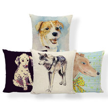 Pug Doberman Greyhound Fronha de Almofada Caso Golden Retriever Husky Oceano Estilo Dormitório Apoio Lombar Linen Toss Pillow 17X17(China)