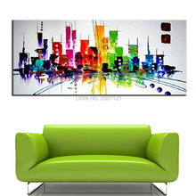 Fashion city painting hand color modern abstract canvas oil metropolis landscape large Sofa backdrop decorations