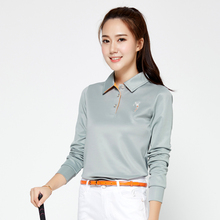 Brand POLO Ladies Golf Sexy Shirts Women Long-sleeve Sexy Sports Apparel. Women Workout Polo Shirt, Fitness Gym Sport Dri-Fit