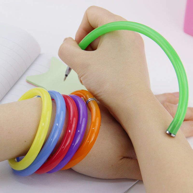 5PCS Flexible Ball Pen Cute Soft Plastic Bangle Bracelet Ballpoint Pens School Office Gifts